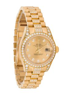 Ladies' 18K Yellow Gold 26mm Rolex Datejust Lady President automatic watch with fixed diamond bezel, gold-tone dial with diamond hour markers, gold-tone stick hands, sweeping seconds hand, cyclops dat