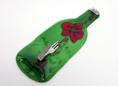 red flower  Wall Hook   Fused Glass Green  Melted by virtulyglass