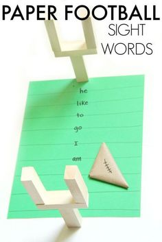 Sight word paper football game for beginner readers.
