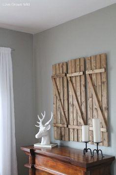 Rustic Diy Barn Wood Shutters. #InteriorDecorInspiration #WallArt