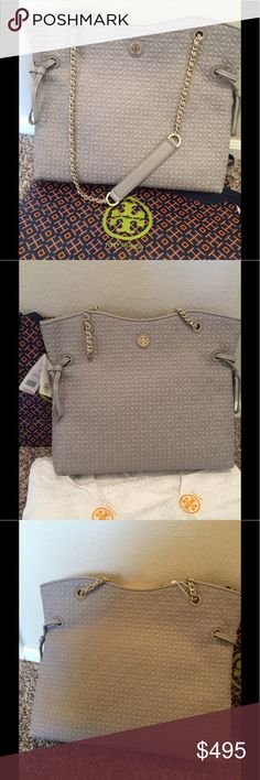 NWT Tory Burch Slouchy Tote Mercury Beautiful gray authentic Tory Burch Tote  Bryant quilted slouchy Tote gold hardware  $635 retail  Large Tote gorgeous  36914 14 x 13 x 4 Tory Burch Bags Totes
