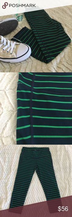 Athleta striped capris Athleta striped capris in perfect condition. Size small. Only wore these once for a special event. Soft and stretchy. Navy and green stripes. Athleta Pants Capris