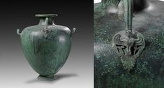 Greek bronze hydria kalpis with ovoid body and vertical handle with engraved and plastic decor showing a siren. The upper rim, the foot and the handles sideways are decorated with pearl and lozenges cymatia. Greek, 3rd quarter 5th century B.C. 44 cm high. Private collection