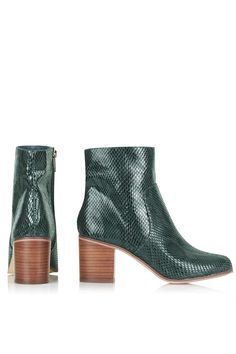 Topshop Bless snake boots in green