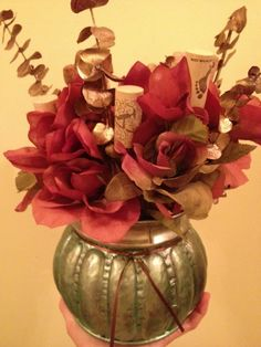 Love this fun fall centerpiece with the wine corks peeking out! From Dollar Store Crafts.