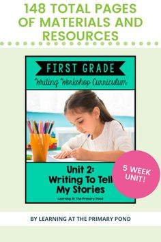"Personal narrative / ""small moments"" writing lessons, writing rubrics, printable writing paper, posters and visuals, graphic organizers for planning and more - for first grade students!"