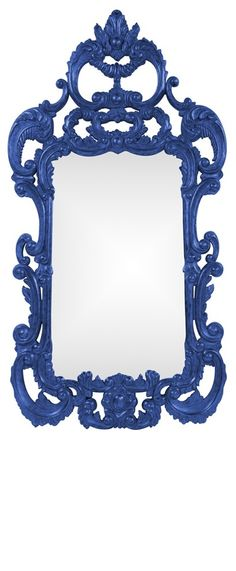 """Wall Mirrors, Grand 72"""" Tall Baroque Mirror, Royal Blue High Gloss Lacquer, so beautiful, inspire your friends and followers interested in luxury interior design & gifts with more beautiful accents like this from InStyle Decor Beverly Hills, Luxury Designer Furniture, Mirrors, Lighting, Art, Accents & Gifts, over 3,500 inspirations to choose from and share with our simple one click Pinterest Pin button enjoy & happy pinning"""