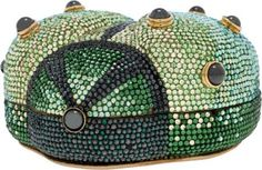Judith Leiber Full Bead Green & Black Crystal Beetle Minaudiere Evening Bag