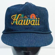 Hawaii Trucker Denim Snapback Hat Cap Rope Mens Hipster Dapper Vtg 1980s Nissin #Nissin #Trucker