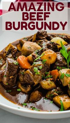 Want the best beef stew? This classic French recipe is made on the stovetop in a dutch oven. The wine sauce with mushrooms is gluten free and paleo. Beef Recipes For Dinner, Rib Recipes, Steak Recipes, Real Food Recipes, Chicken Recipes, Paleo Recipes, Easy Recipes, Slow Cooked Beef, Wine Sauce