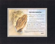 Touching and Heartfelt Poem for Inspirations - Prayer Before Starting Work Poem on 11 x 14 inches Double Beveled Matting