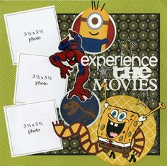 Experience the movies at Universal Studios! This design includes all of the characters you love at Universal - from minions to Spider-Man, Jurassic Park to SpongeBob. Embellishments include: vellum st
