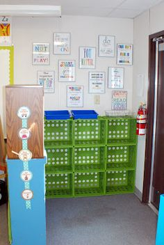 Make your own cubbies/bookshelves! Zip tie milk creates together. This classroom is gorgeous Portable Classroom, Classroom Setting, Classroom Setup, Classroom Design, Preschool Classroom, Future Classroom, Preschool Cubbies, Classroom Cubbies, Classroom Rules