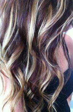 As Burgundy Hair Blonde Highlights Red