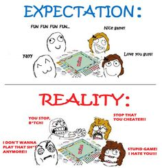 The expectation and reality of playing Monopoly minus kid's swearing but seriously