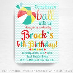 Blue Red Yellow Chevron Beach Ball Birthday Printable Invitation by Print POP Party This is an emailed file, nothing will be shipped to you.