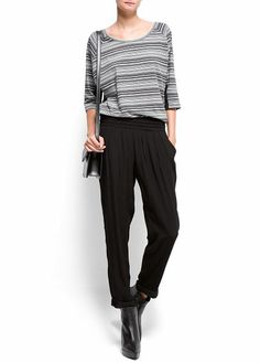 MANGO - Contrasted panels striped t-shirt