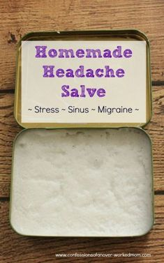 Homemade headache salve for stress, sinus or migraines. DIY recipe for health that is gentle on the skin. Great for anyone who enjoys simple essential oil crafts.