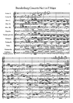 Bach - Brandenburg Concerto No.1,BWV 1046 -  Free sheet music and accompaniments - Instruments: Double bass, Bassoon, Violoncello, Harpsichord, Viola, Violin, Oboe, Horn - Find a lot more on www.weezic.com