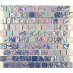 Blue Martini Offset Blue 1'' x 1'' Glass Matte & Iridescent Tile