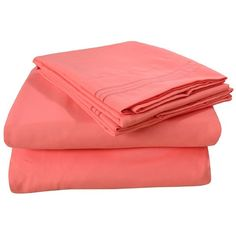Amazon.com - Hot Sale! Honeymoon super soft Wrinkle Free Fade-resistant No Ironing, Twin/Full/Queen 4PC bed sheet set, coral, deep pockets sensitive skin fine workmanship Easy Care - ($29) found on Polyvore featuring beauty products