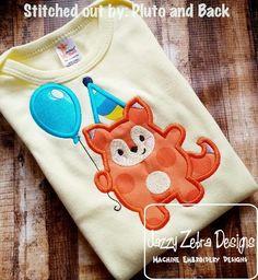 Fox with Balloon Birthday Appliqué Design: Jazzy Zebra Designs