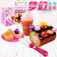 Kids fruit kitchen toys set Birthday gift pretend play game toy  new children miniature food plastic fruit cake toys brinquedos