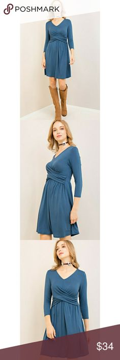 "New! Blue teal dress with long sleeves Available in sizes S, M and L Material: 96% Bamboo and 4% Spandex Measurements: Size S: Chest: 17"" Length: 31.5"" Size M: Chest: 18"" Length 32"" Size L: Chest 19"" Length 32.5"" This simple, yet stunning dress is the perfect everyday work dress, but easily dresses up with a statement necklace and boots to a night-out stunner. Bamboo makes it comfortable to wear and ultra-soft. This dress has a lot of stretch and fits curve hugging on the bust. Entro Dresses…"