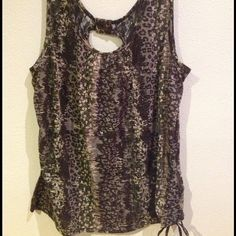 Camo Style Top Super Cute Camo Style/Colors Top with half Black Lace Back very little stretch to it fits more like a 2x has ribbed crouched sides to accentuate figure ?? Tops