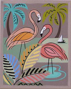 Mid Century Modern Eames Retro Limited Edition Pink Flamingos by LTillmanArt. Flamingo Rosa, Flamingo Art, Pink Flamingos, Mid Century Modern Art, Mid Century Art, Kitsch, Illustrations, Illustration Art, Pink Bird