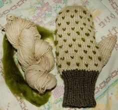 Thrummed Mittens knit from small-ish quantities of two contrasting yarns with complimentary roving used for the thrums.