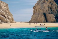 "Lovers Beach, located in Cabo San Lucas, Mexico is part of ""Land's End"" at the southern tip of Baja. This famous spot sits between the Gulf of California, and the Pacific Ocean. Top 5 Attractions in Mexico, Honeymoon Photos by WeddingWire Travel on WeddingWire"