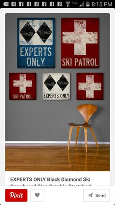 Wooden ski signs