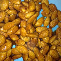 Sweet and spicy almonds: In a sauce pan combine 1/2c organic sugar, 2tblsp brown sugar, 1tsp coriander, sea salt, and 1/4c Siracha. Stir in Raw or unsalted almonds until coated. Then pour on a cookie sheet to dry and harden