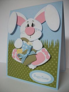Here Comes Peter Cottontail! by MrsBoz - Cards and Paper Crafts at Splitcoaststampers Paper Punch, Punch Art, Happy Easter, Easter Bunny, Here Comes Peter Cottontail, Diy And Crafts, Paper Crafts, White Rabbits, Cool Typography