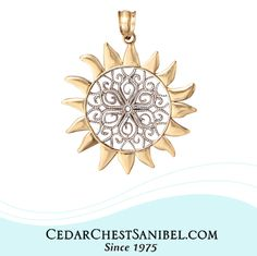 """""""Keep your face to the sun and you will never see the shadows."""" ― Helen Keller 14Kt Yellow and White Gold Filigree Sun Pendant"""