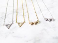 pave triangle necklace, geometric necklace, pave necklace, gold triangle necklace, triangle jewelry