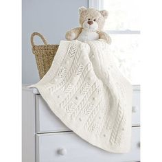 Cables and Bobbles Baby Blanket - Aran Irish Twist
