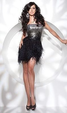 Black Sequin Bodice Short Feather Dress Prom Party Evening Dresses Gown Stock | eBay