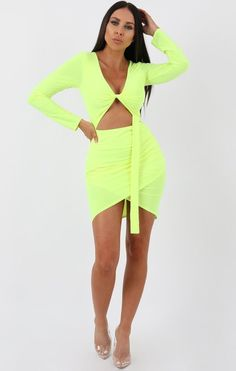 cdfd91070c2f Lime Long Sleeve Cut out Knot Bodycon Dress - Fenela - 6 / lime