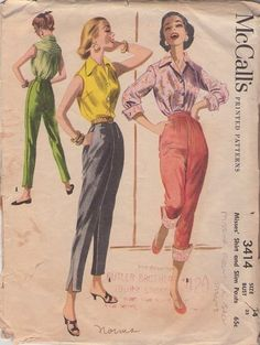 Classic 1950s slacks ~ McCall's 3414.   Making them will be better than the $89 pair that I picked up last weekend. They look great, but I could use a little more room in the posterior. Must try and make some slacks of my own.