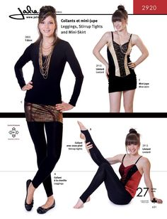 Sewing Pattern #2920  Leggings, Stirrup Tights and Mini-Skirt