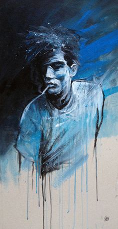 """Man Smoking Blues"" by GRAFFMATT #painting #graffmatt #man #smoking #blues #cigarette"