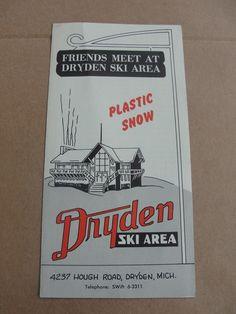 1950's Vintage Dryden Ski Area Michigan Brochure   eBay