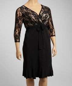 Another great find on #zulily! Glamour Black Lace Three-Quarter Sleeve Surplice Dress - Plus by Glamour #zulilyfinds