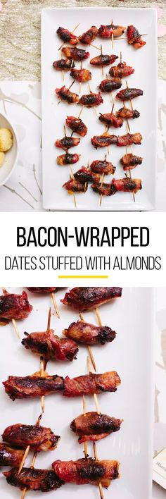 Bacon wrapped in anything is pretty much a natural crowd pleaser at a holiday pa… appetierz paleo appetierz skewers Appetizers For A Crowd, Holiday Appetizers, Appetizer Dips, Appetizer Recipes, Holiday Recipes, Snack Recipes, Party Appetizers, Thanksgiving Appetizers, Snacks