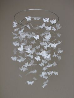 butterfly mobile for nursery. cut out ANY shape that goes w the theme and send to shower participants to personalize!