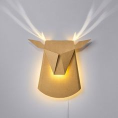 Deer Head - An elegant cardboard wall LED light fixture - Popup Lighting