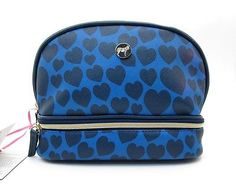 DABNEY LEE COSMETIC BAG MAKEUP CASE ~ BLUE HEARTS TWO SECTIONS ~ NEW