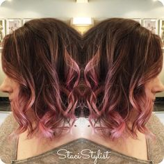 Ombre highlights go pink!   #balayage #babylights